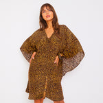Kitten Beachwear Arya Kaftan in Leopard