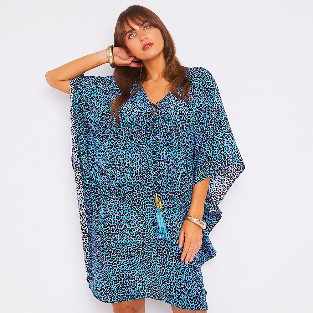 Kitten Beachwear Arya Kaftan in Blue Leopard