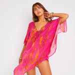 Kitten Beachwear Kaa Kaftan in Hot Pink Python
