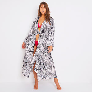 Kitten Beachwear Niko Maxi Kimono in Black Blush Paisley