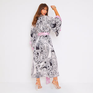 Kitten Beachwear Niko Maxi Kimono in Black Paisley with Pink