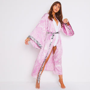 Kitten Beachwear Niko Maxi Kimono in Pink Paisley with Black