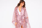 Kitten Beachwear Sarmora Red and White Sheer Kimono