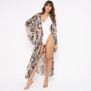 Kitten Beachwear Niko Maxi Kimono in Black Palm