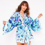 Kitten Beachwear Rin Kimono Jacket in Blue Flowers