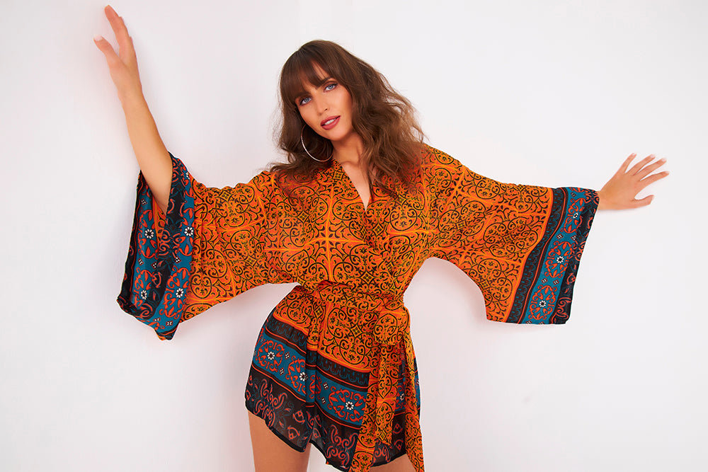 Kitten Beachwear Rin Kimono Jacket in Temple Print
