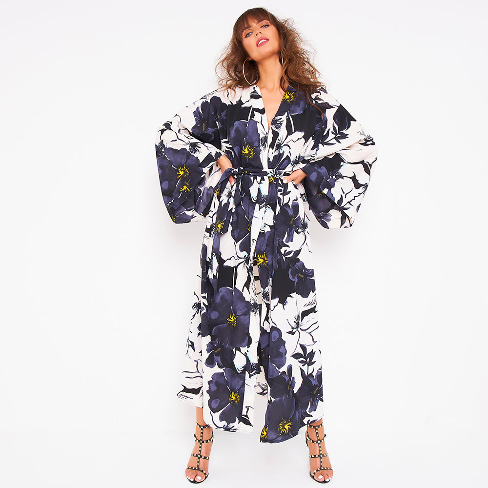 Kitten Beachwear Niko Maxi Kimono in Bloom