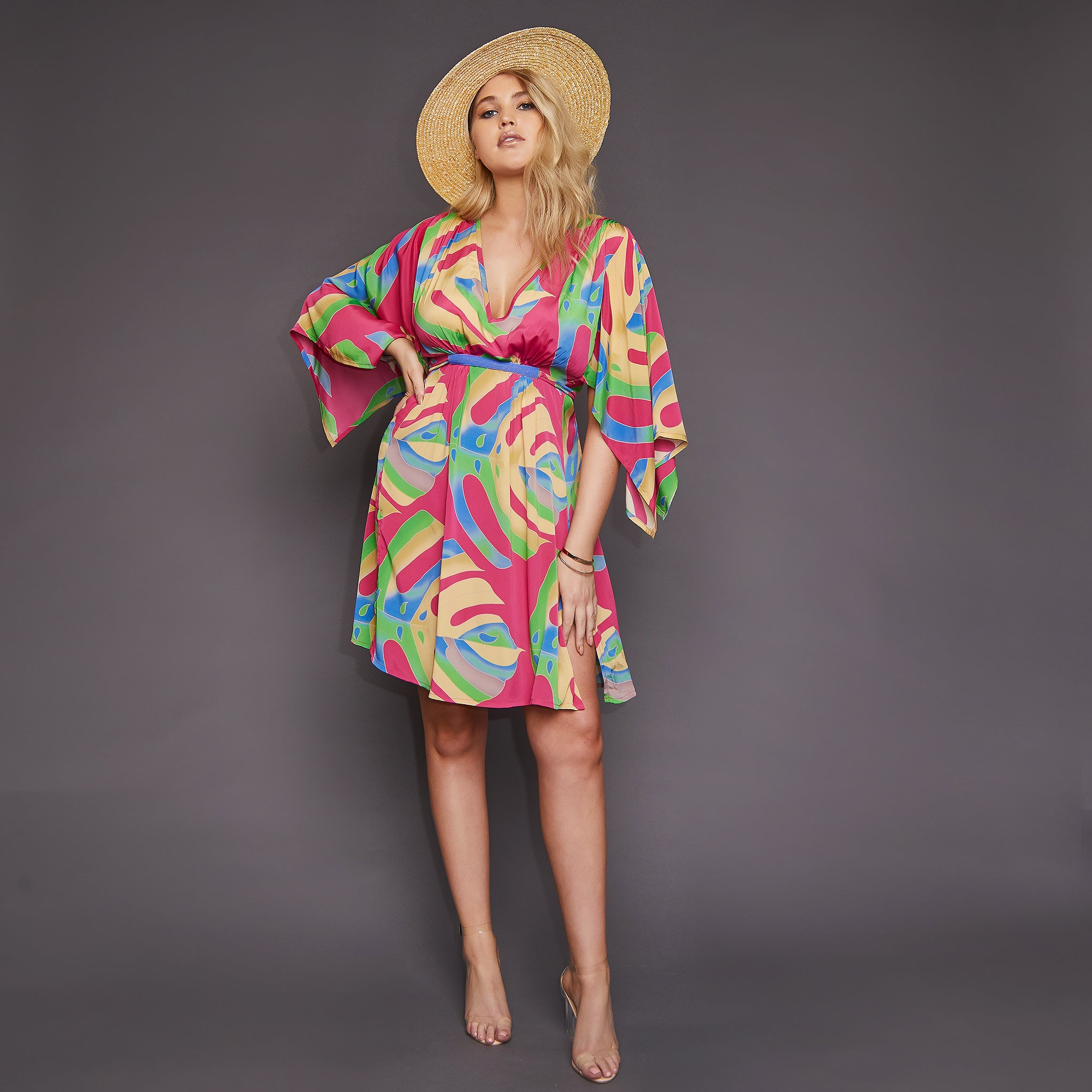 Roma Kimono Dress in Red Palm Leaf