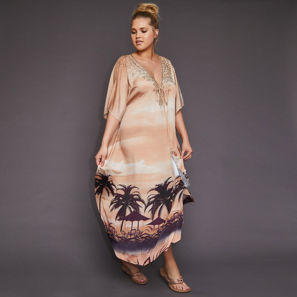 Kitten Beachwear Montego Maxi Kaftan in Sand with Silver Tassels