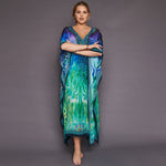 Kitten Beachwear Miami Maxi in Blue and Green Animal Print