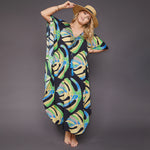 Kitten Beachwear Isla Maxi Kaftan in Black Palm Leaf