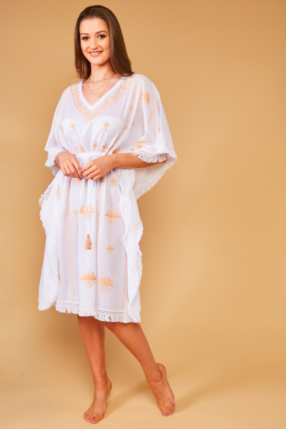 Mykonos Embroidered V-Neck Midi Kaftan in White with Sand