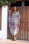 Simos Maxi Kaftan with Purple Tassels