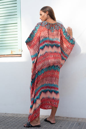 Maxima Orange Maxi Kaftan with Orange Tassels