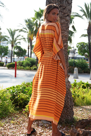 Florence Crepe Maxi Dress in Stripes