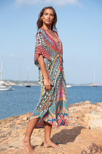 Petra Maxi Kaftan with Red Tassels
