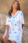Mykonos Embroidered Mini Kaftan in White with Blue