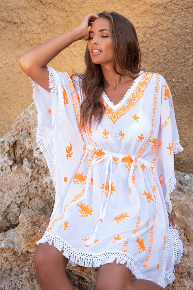 Mykonos Embroidered Kaftan in White / Orange