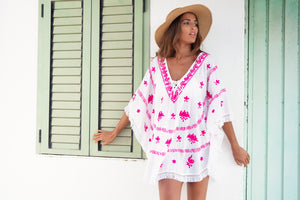 Mykonos Embroidered Kaftan in White / Hot Pink