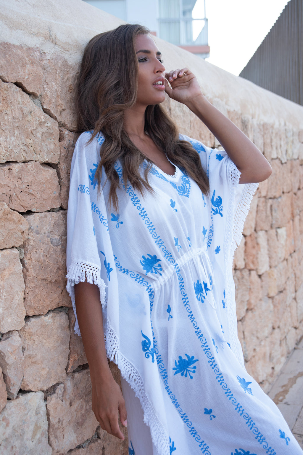 Mykonos Embroidered White Midi Kaftan with Blue
