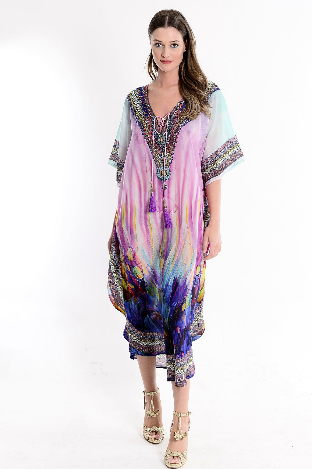 Camille Multicolour Deep V Neck Maxi Kaftan with Long Sleeves