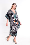 Paola Monochrome Deep V Neck Maxi Kaftan with Long Sleeves