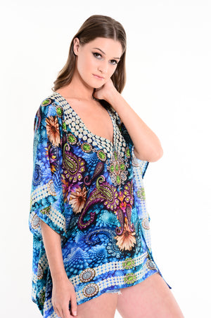 Bossa Kaftan Top in Bright Blue