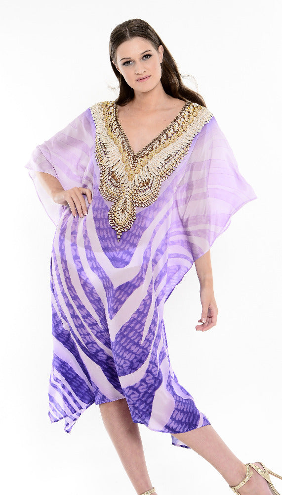 Alissa Midi Kaftan with long sleeves in Violet