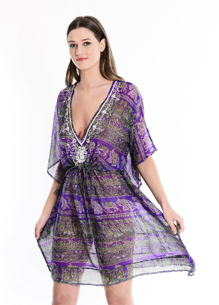 Holly Printed Purple Deep V Kaftan with tie waist and long sleeves