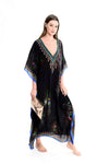Odette Black Maxi Kaftan with Deep V Neck and Long Sleeves
