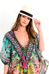 Dina Multicolour Deep V Neck Kaftan with Long Sleeves