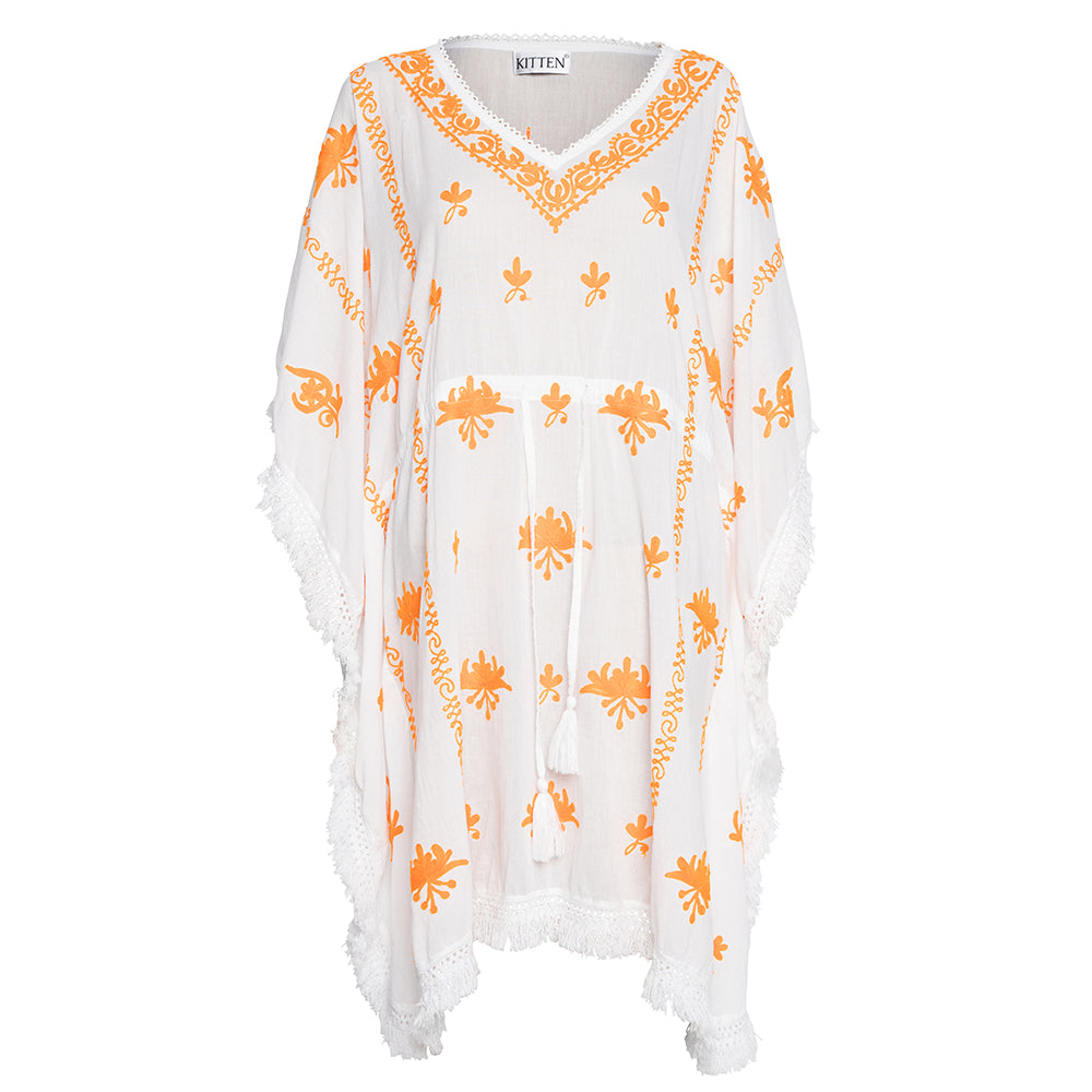 Mykonos Embroidered V-Neck Mini Kaftan in White with Orange