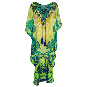 Athena Maxi Kaftan with Blue Tassels