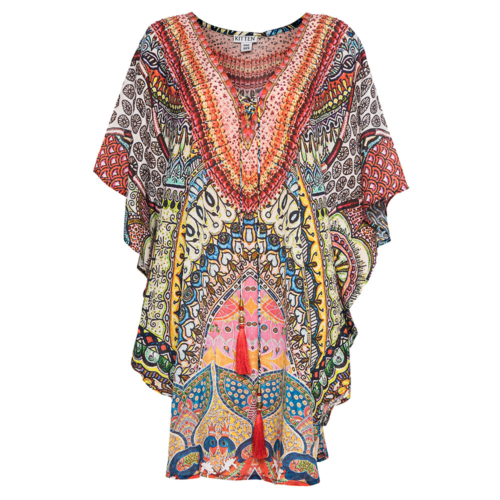 Petra Kaftan with Red Tassels