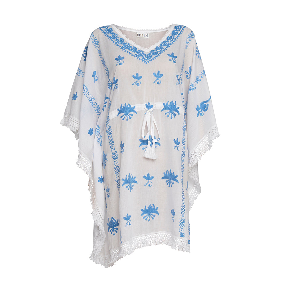 Mykonos Embroidered Kaftan in White with Blue