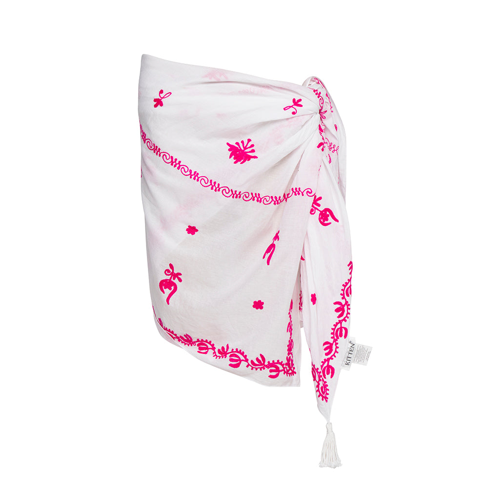 Mykonos Embroidered Sarong in White / Hot Pink