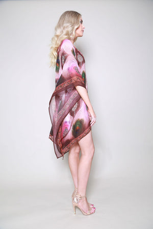 India Peacock Feather Pink Printed Kaftan