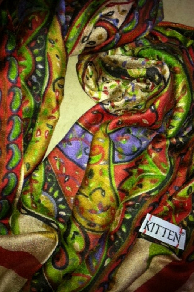 Kitten Beachwear label on scarf