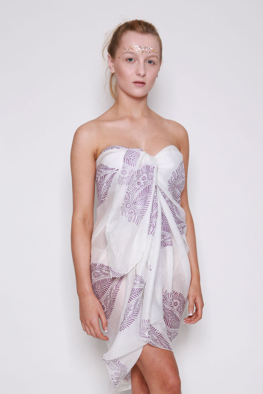White with Purple Leaf Sarong