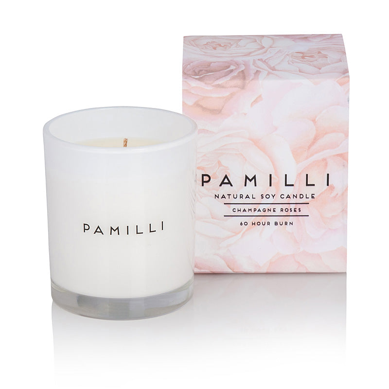 Natural Soy Candle - Champagne Roses | Pamilli Fragrances