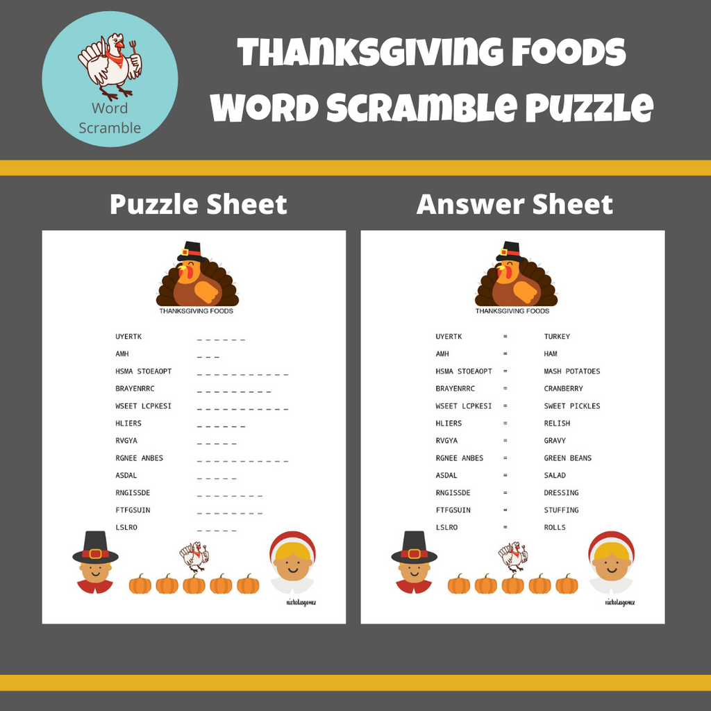 Thanksgiving Foods Word Scramble Puzzle