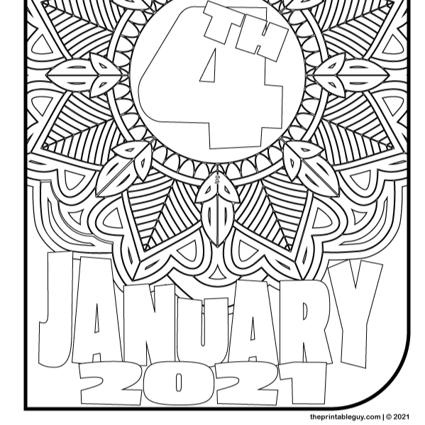 January Four 2021 Coloring Page