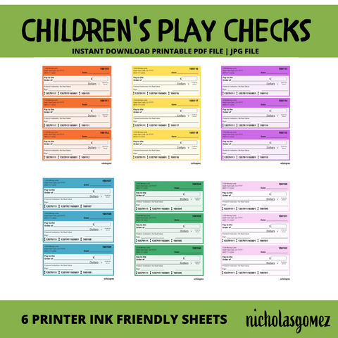 Printable Children's Play Checks Classroom Money Math