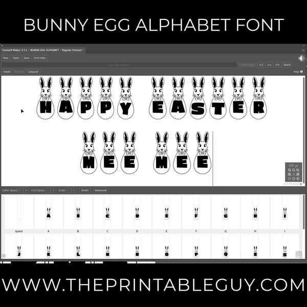 Bunny Egg Alphabet Font Package