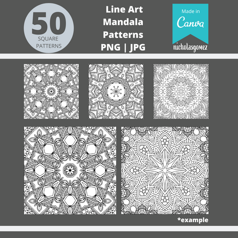 50 Printable Mandala Square Patterns PNG | JPG