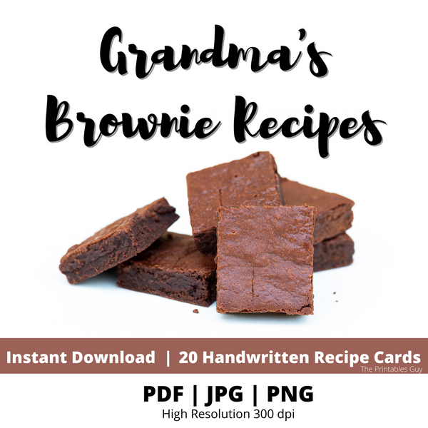 20 Brownie Recipe Baking Treat Grandma's Vintage Cards