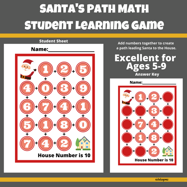 Santa's Path Math Learning Game for Students