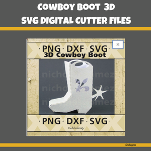 Cowboy Boot 3D SVG Cut FIle