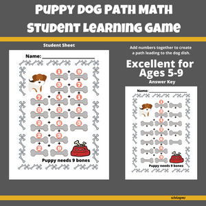Puppy Dog Path Math Learning Game for Students