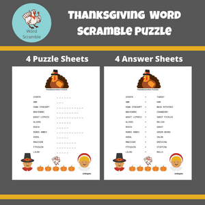 Thanksgiving Word Scramble Puzzle with Answer Keys